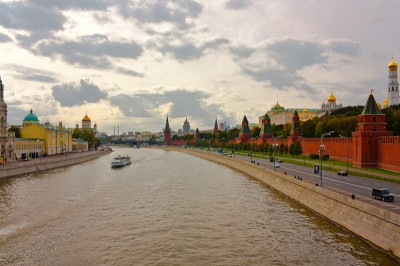 View from a bridge near the Kremlin