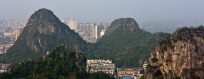 View from one of the karst mountains in Guilin