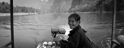 Bamboo boat driver