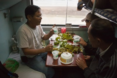 On the train TN1 (hard sleeper) from Hanoi to Saigon.