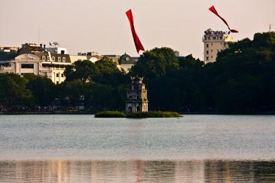 Turtle tower at the Hoan Kiem lake in Hanoi
