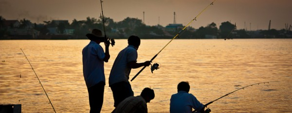 Anglers at the Mekong river
