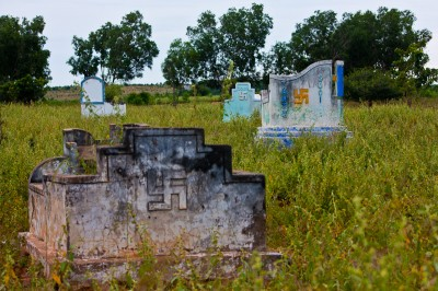 Swastika at Buddhist tombstones