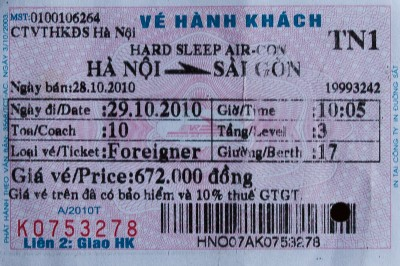 Train ticket for train TN1 from Hanoi to  Saigon