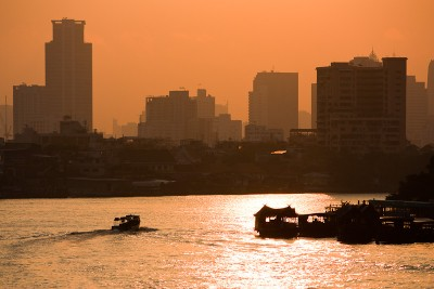 Sunrise at the Chao Phraya River in Bangkok