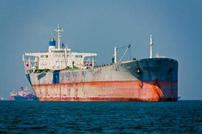 Cargo ship anchoring in Singapore