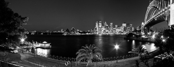Panoramic view of Sydney CBD, Opara House and Harbour Bridge